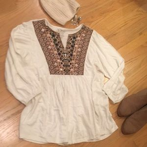 Chico's New Linen rayon embroidered top 1 S / M